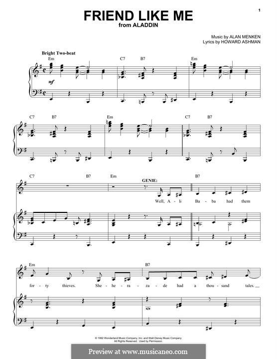 Friend Like Me (from Aladdin): Für Stimme und Klavier by Alan Menken