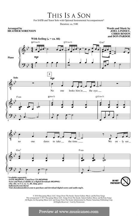 This is a Son: Für gemischten Chor by Joel Lindsey, Chris Binion, Don Pardoe