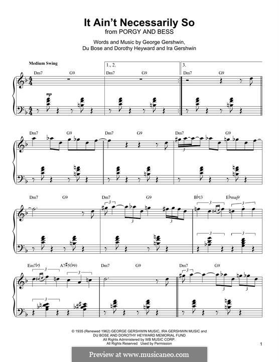 It ain't Necessarily So: Für Klavier by George Gershwin