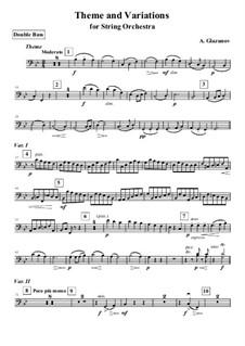 Thema und Variationen für Streichorchester: Kontrabass-Stimme by Alexander Glazunov