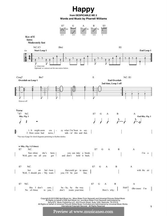 Happy (from Despicable Me 2): Für Gitarre mit Tabulatur by Pharrell Williams
