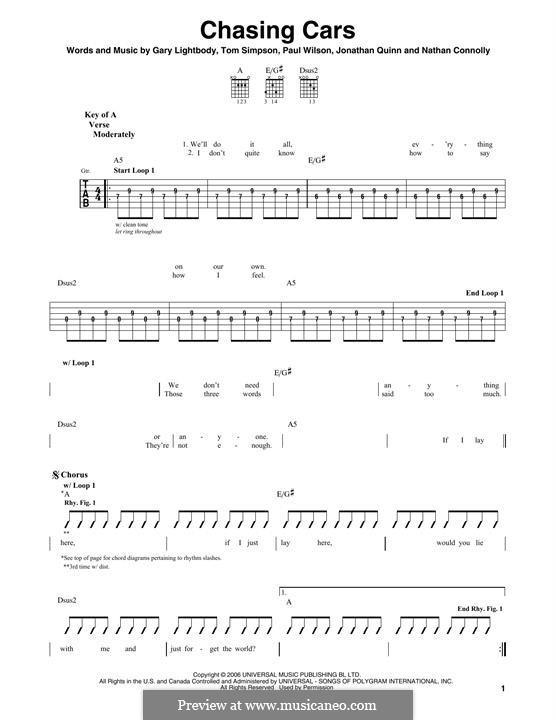 Chasing Cars (Snow Patrol): Für Gitarre mit Tabulatur by Gary Lightbody, Jonathan Quinn, Nathan Connolly, Paul Wilson, Tom Simpson