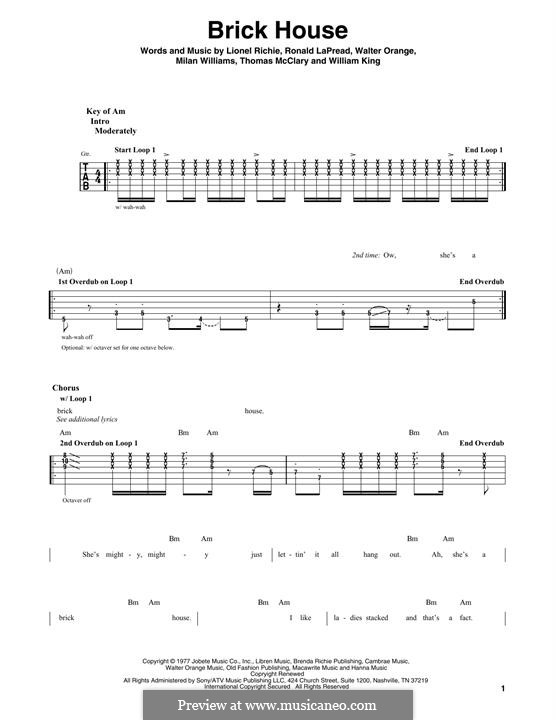 Brick House (The Commodores): Für Gitarre mit Tabulatur by Lionel Richie, Milan Williams, Ronald LaPread, Thomas McClary, Walter Orange, William King