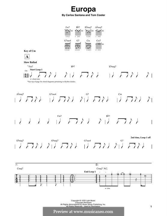 Europa (Santana): Für Gitarre mit Tabulatur by Carlos Santana