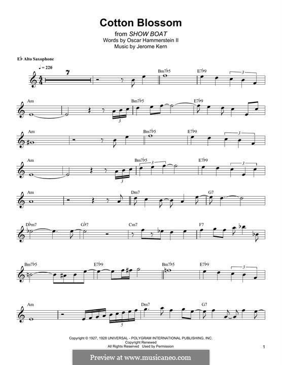 Cotton Blossom: Für Altsaxophon by Jerome Kern