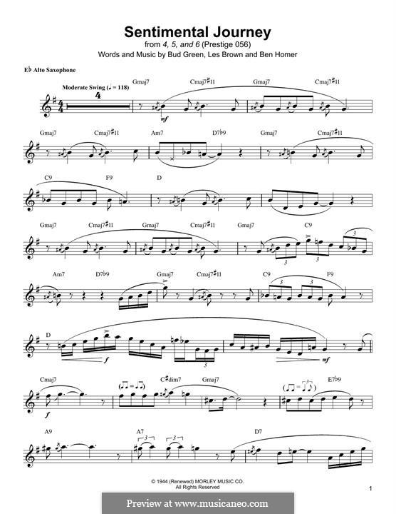 Sentimental Journey: Für Altsaxophon by Bud Green, Benjamin Homer, Lew Brown