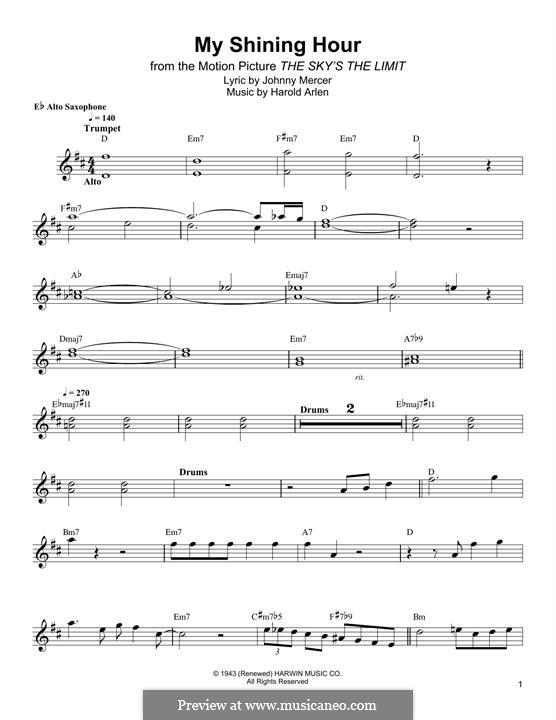 My Shining Hour (Ella Fitzgerald): Für Altsaxophon by Harold Arlen