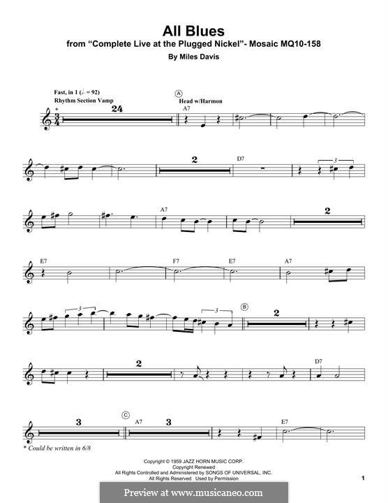 All Blues: Für Trompete by Miles Davis