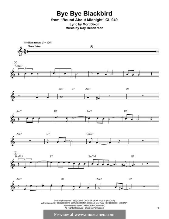 Bye Bye Blackbird: For trumpet (Miles Davis) by Ray Henderson