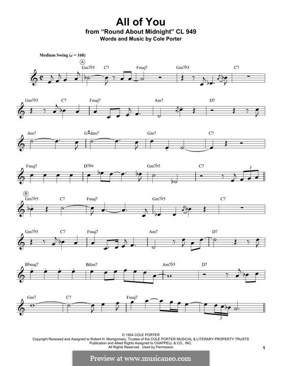 All of You: For trumpet (Miles Davis) by Cole Porter