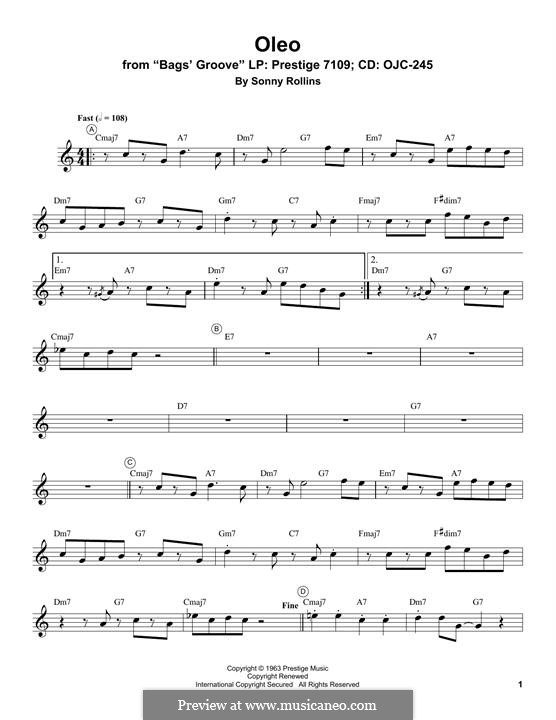Oleo: For trumpet (Miles Davis) by Sonny Rollins