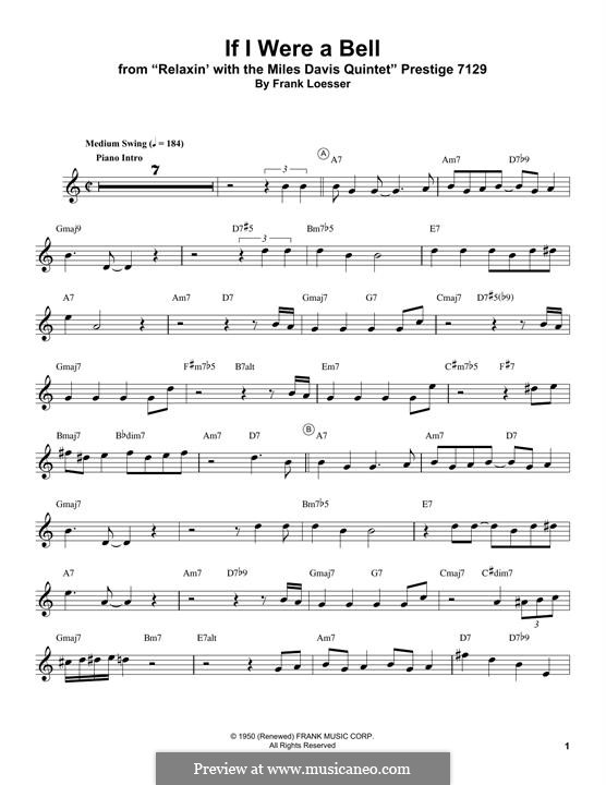 If I Were a Bell: For trumpet (Miles Davis) by Frank Loesser