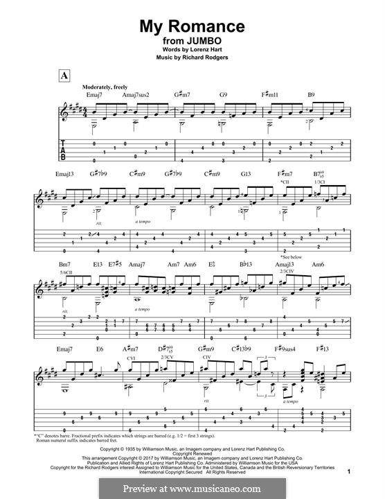 My Romance: Für Gitarre mit Tabulatur by Richard Rodgers