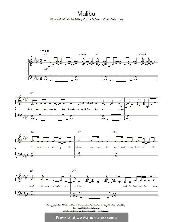 Malibu (Miley Cyrus): Für Klavier by Miley Ray Cyrus, Oren Yoel