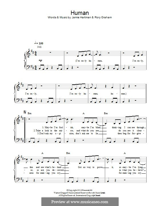 Human (Rag'n'Bone Man): Für Klavier by Jamie Hartman, Rory Graham