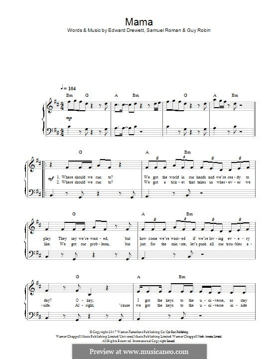 Mama (Jonas Blue feat. William Singe): Für Klavier by Ed Drewett, Sam Romans, Guy Robin