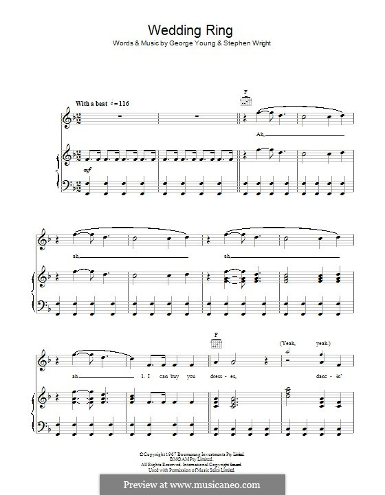 Wedding Ring (The Easybeats): Für Stimme und Klavier (oder Gitarre) by George Young, Steve Wright