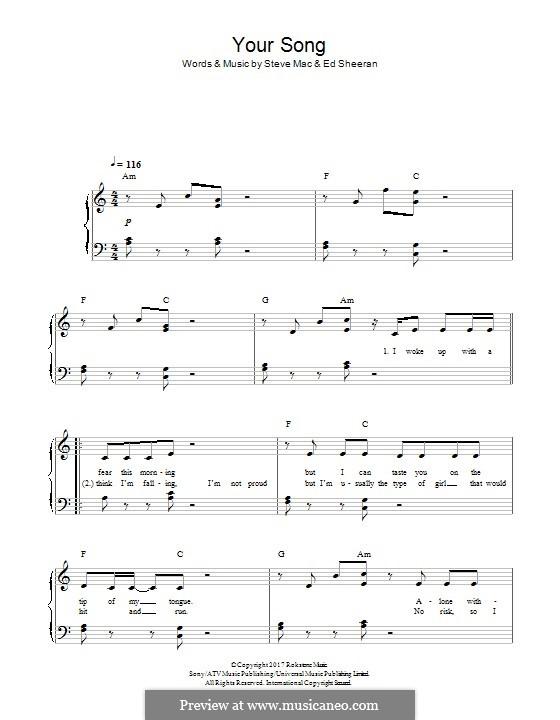 Your Song (Rita Ora): Für Klavier by Ed Sheeran, Steve Mac