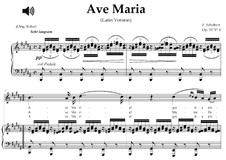 Ave Maria, D.839 Op.52 No.6: For soprano or tenor (B Major) with piano accompaniment by Franz Schubert