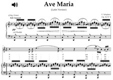 Ave Maria, D.839 Op.52 No.6: For high soprano or tenor (C Major) with piano accompaniment by Franz Schubert