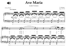Ave Maria, D.839 Op.52 No.6: For contralto (F-Sharp Major) with piano accompaniment by Franz Schubert