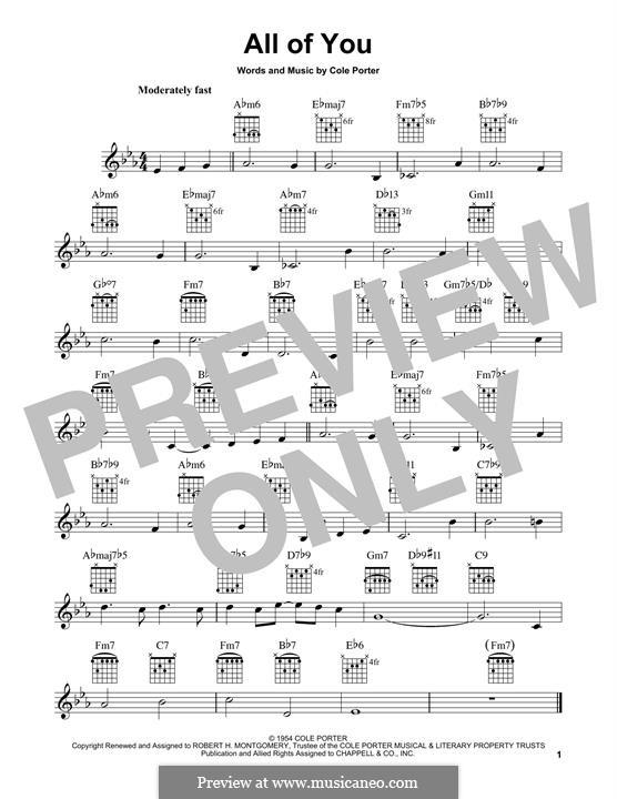 All of You: Für Gitarre mit Tabulatur by Cole Porter
