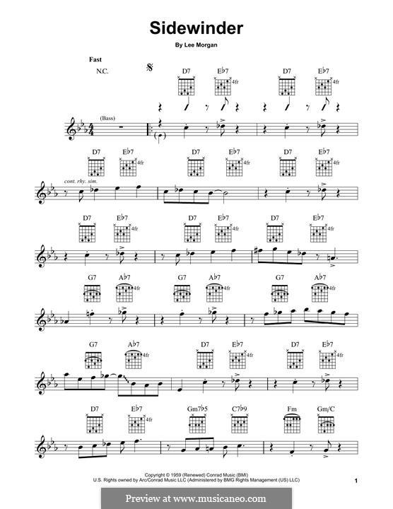 The Sidewinder: Für Gitarre mit Tabulatur by Lee Morgan