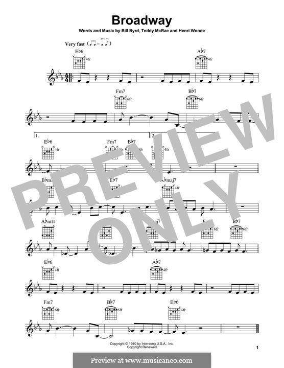 Broadway: Für Gitarre mit Tabulatur by Bill Byrd, Henri Woode, Teddy McRae
