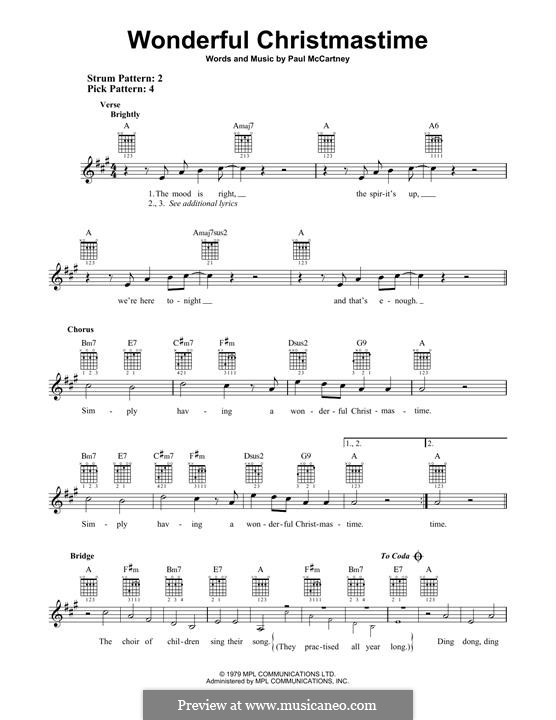 Wonderful Christmastime: Für Gitarre mit Tabulatur by Paul McCartney