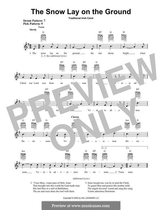 The Snow Lay on the Ground: Für Gitarre mit Tabulatur by folklore