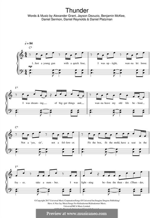 Thunder (Imagine Dragons): Für Klavier by Alexander Grant, Jayson Dezuzio, Benjamin McKee, Daniel Reynolds, Daniel Platzman, Wayne Sermon