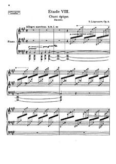 Zwölf transzendentale Etüden, Op.11: Nr.8 Chant épique by Sergei Lyapunov