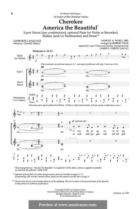Cherokee America the Beautiful: For mixed choir, flute and piano by Samuel Augustus Ward