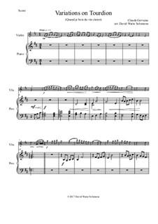 Tourdion (Quand je bois du vin clairet): Für Violine und Klavier by Claude Gervaise