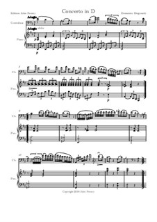 Concerto for Double Bass and Piano in D Major: Partitur by Domenico Dragonetti