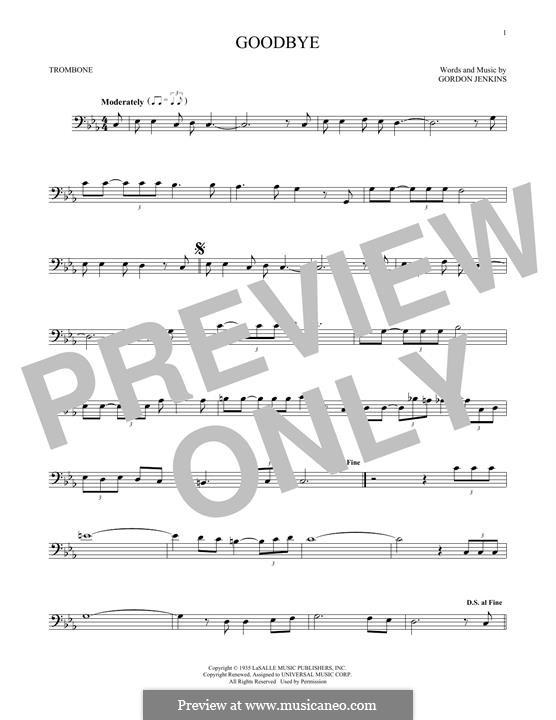 Goodbye (Bill Evans): For trombone by Gordon Jenkins