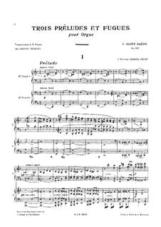 Drei Präludien und Fugen, Op.109: Für zwei Klaviere, vierhändig by Camille Saint-Saëns