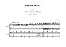Suite Nr.7 in g-Moll, HWV 432: Passacaglia, for piano four hands by Georg Friedrich Händel