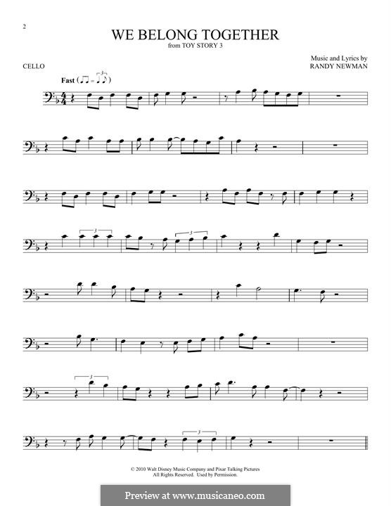 We Belong Together (from Toy Story 3): Für Cello by Randy Newman