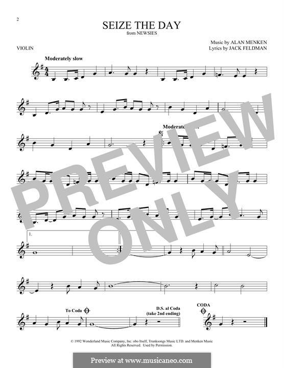 Seize the Day (from Newsies): Für Violine by Alan Menken