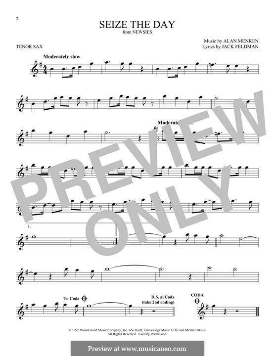 Seize the Day (from Newsies): Für Tenorsaxophon by Alan Menken