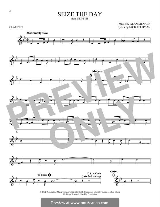 Seize the Day (from Newsies): Für Klarinette by Alan Menken