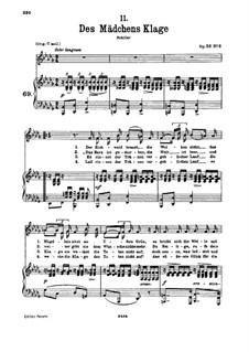 Des Mädchens Klage, D.191 Op.58 No.3: Für tiefe Stimme und Klavier by Franz Schubert
