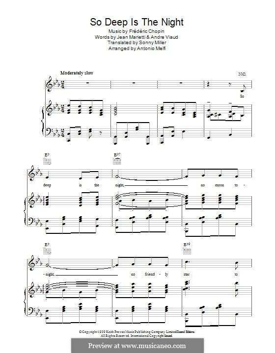 So Deep is the Night: Für Stimme und Klavier (oder Gitarre) by Frédéric Chopin