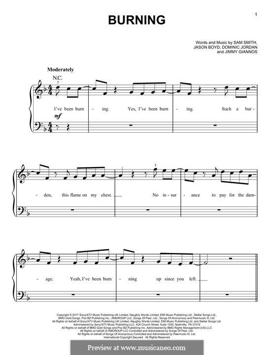 Burning: Für Klavier by Jason Boyd, Samuel Smith, Dominic Jordan, James Giannos