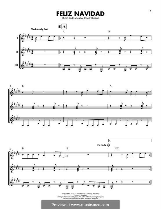 Feliz Navidad: For guitars trio by José Feliciano
