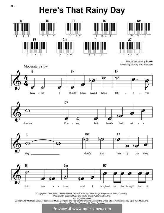 Here's That Rainy Day (Dionne Warwick): Für Klavier by Jimmy Van Heusen
