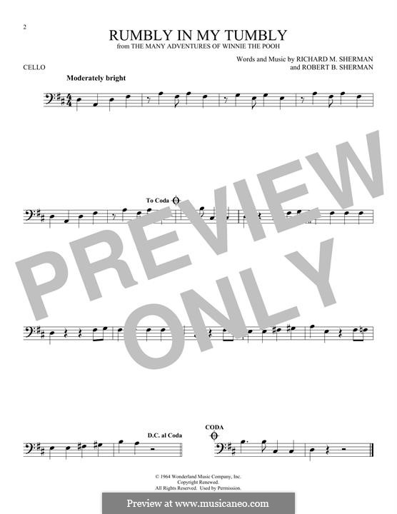 Rumbly in My Tumbly (from The Many Adventures of Winnie the Pooh): Für Cello by Richard M. Sherman, Robert B. Sherman