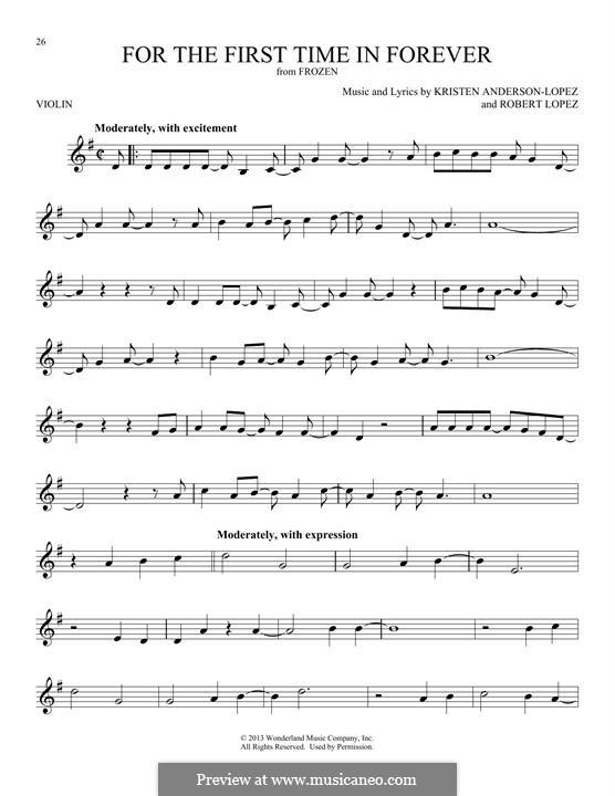 For the First Time in Forever (Kristen Bell & Idina Menzel): Für Violine by Robert Lopez, Kristen Anderson-Lopez