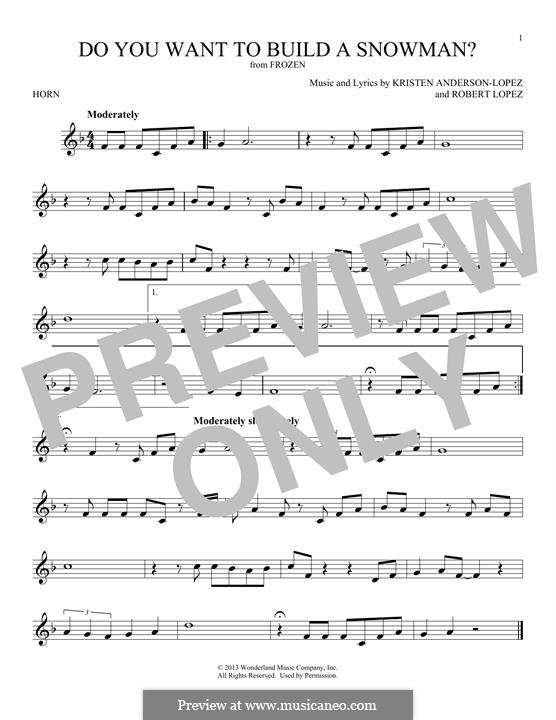 Do You Want to Build a Snowman? (Kristen Bell): For horn by Robert Lopez, Kristen Anderson-Lopez